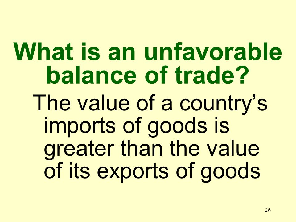 26 The value of a countrys imports of goods is greater than the value of its exports of goods What is an unfavorable balance of trade