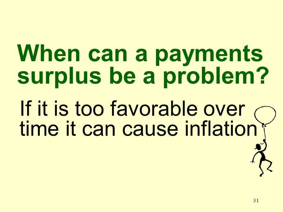 31 If it is too favorable over time it can cause inflation When can a payments surplus be a problem?