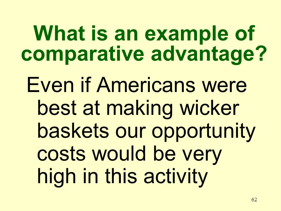62 Even if Americans were best at making wicker baskets our opportunity costs would be very high in this activity What is an example of comparative ad