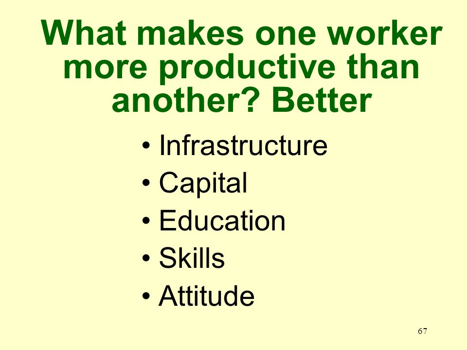 67 Infrastructure Capital Education Skills Attitude What makes one worker more productive than another.