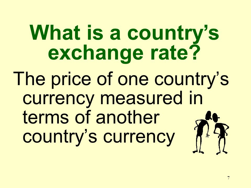 7 The price of one countrys currency measured in terms of another countrys currency What is a countrys exchange rate?