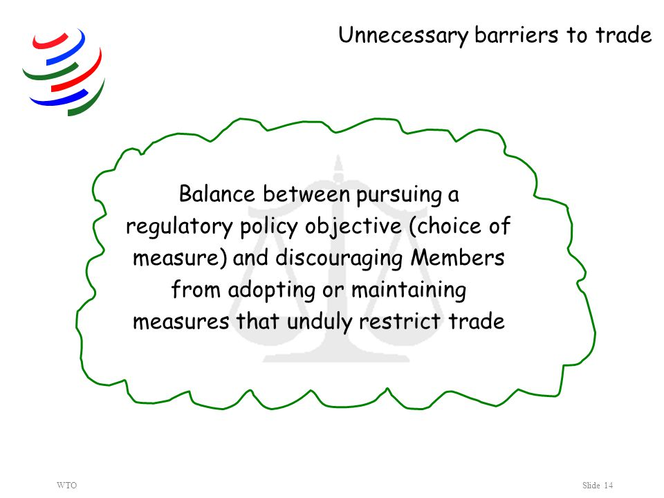 WTOSlide 14 Balance between pursuing a regulatory policy objective (choice of measure) and discouraging Members from adopting or maintaining measures