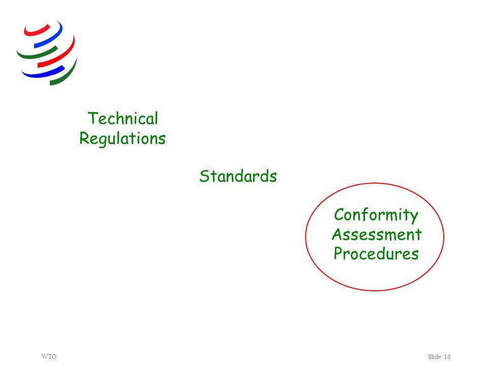 WTOSlide 16 Technical Regulations Standards Conformity Assessment Procedures