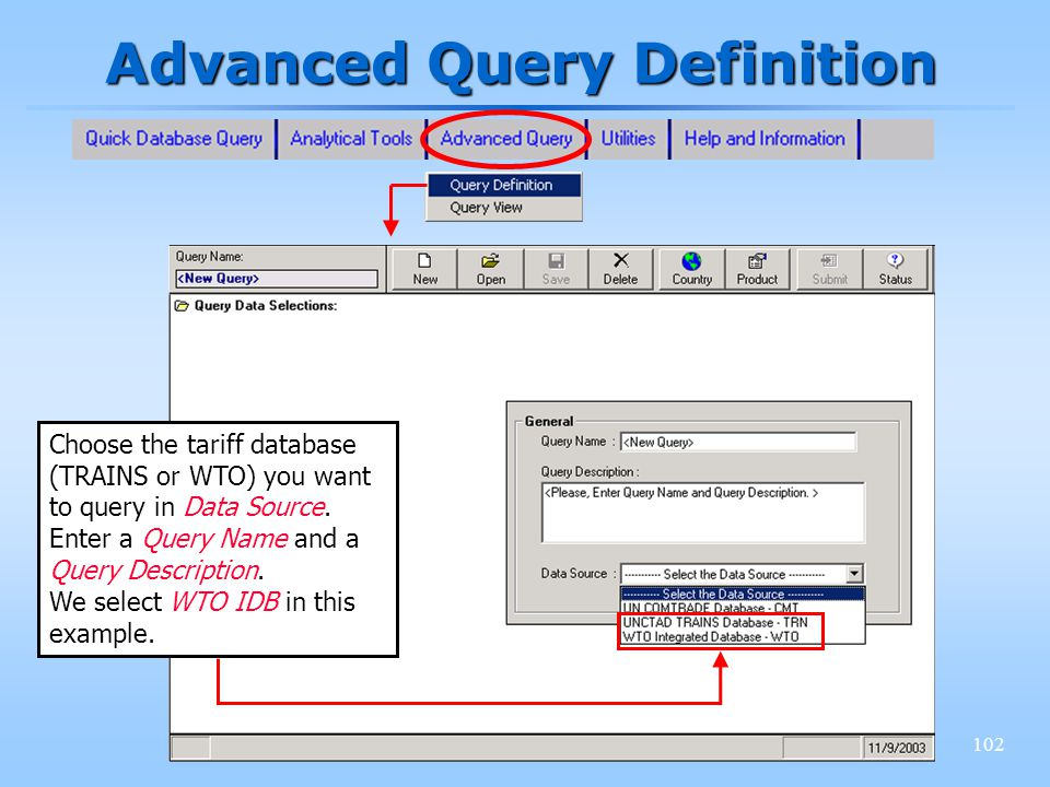 102 Advanced Query Definition Choose the tariff database (TRAINS or WTO) you want to query in Data Source. Enter a Query Name and a Query Description.