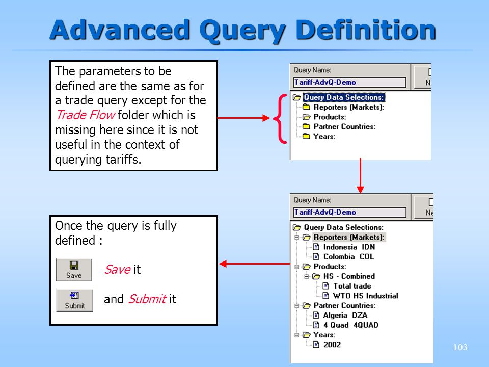 103 Advanced Query Definition The parameters to be defined are the same as for a trade query except for the Trade Flow folder which is missing here si