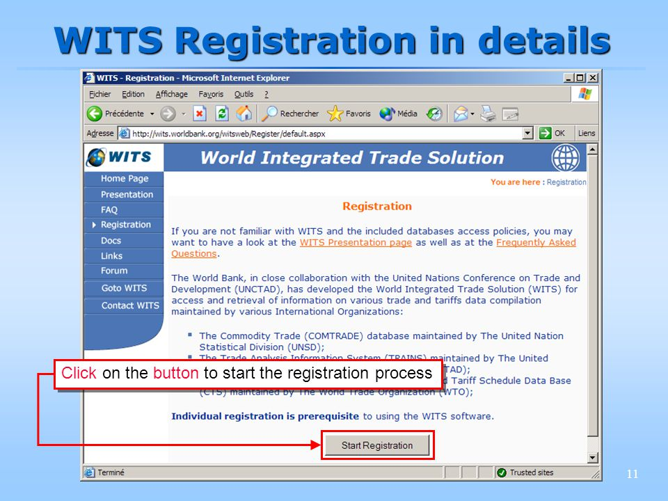 11 WITS Registration in details Click on the button to start the registration process