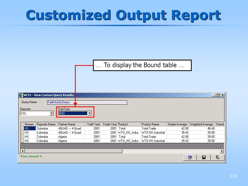 118 Customized Output Report … To display the Bound table …