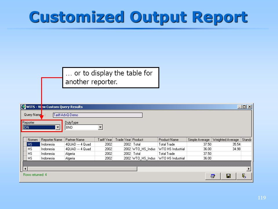 119 Customized Output Report … or to display the table for another reporter.