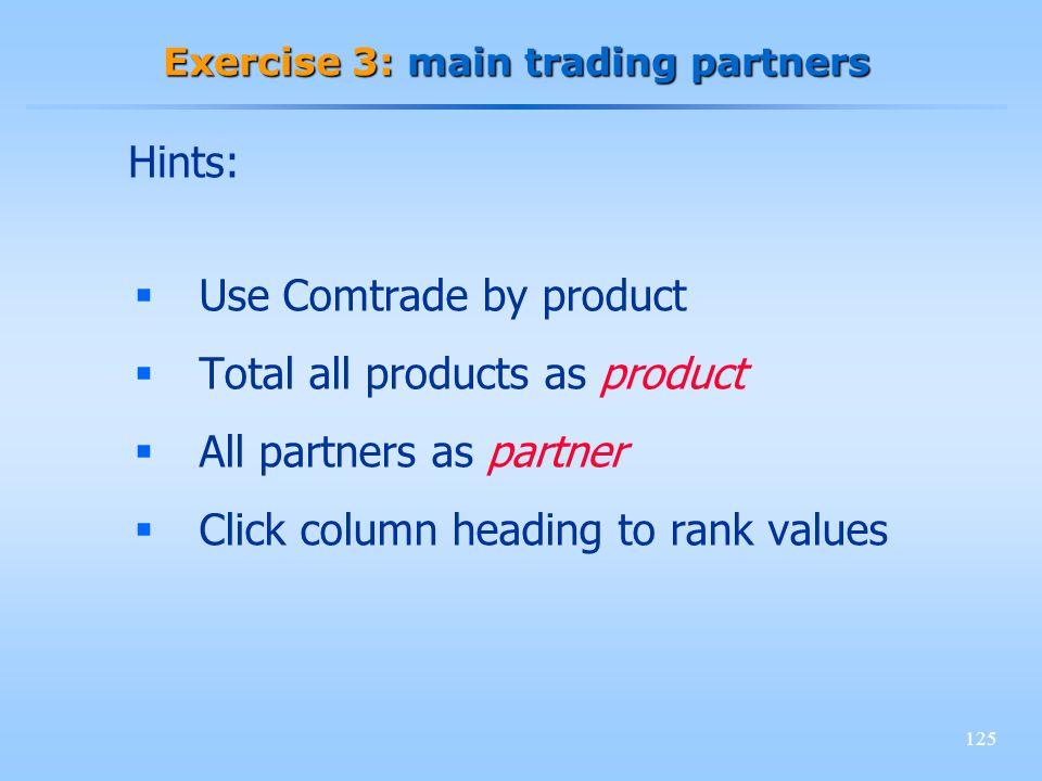 125 Exercise 3: main trading partners Use Comtrade by product Total all products as product All partners as partner Click column heading to rank value