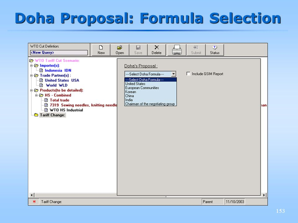 153 Doha Proposal: Formula Selection