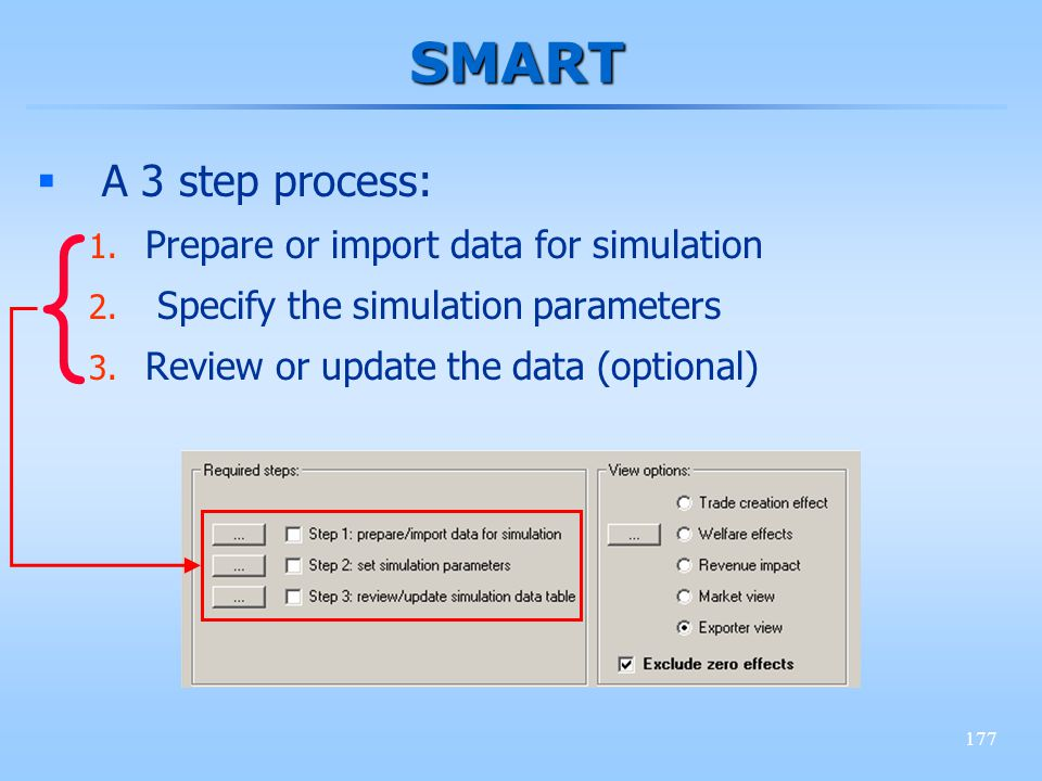 177 SMART A 3 step process: 1. Prepare or import data for simulation 2. Specify the simulation parameters 3. Review or update the data (optional) {