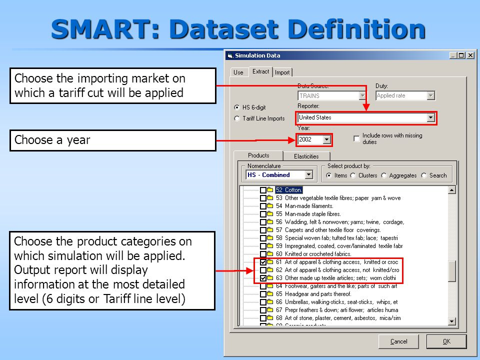 180 SMART: Dataset Definition Choose the importing market on which a tariff cut will be applied Choose a year Choose the product categories on which simulation will be applied.