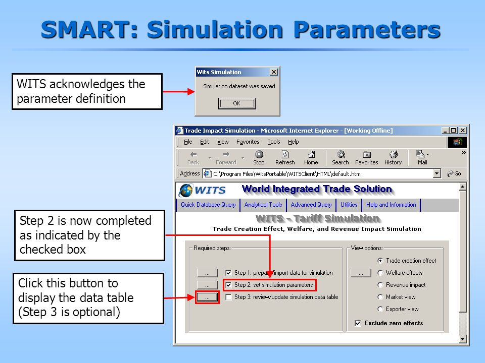 186 SMART: Simulation Parameters Step 2 is now completed as indicated by the checked box WITS acknowledges the parameter definition Click this button to display the data table (Step 3 is optional)
