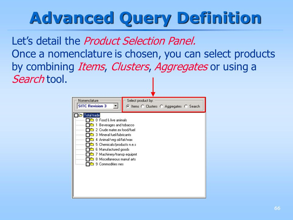 66 Advanced Query Definition Lets detail the Product Selection Panel. Once a nomenclature is chosen, you can select products by combining Items, Clust