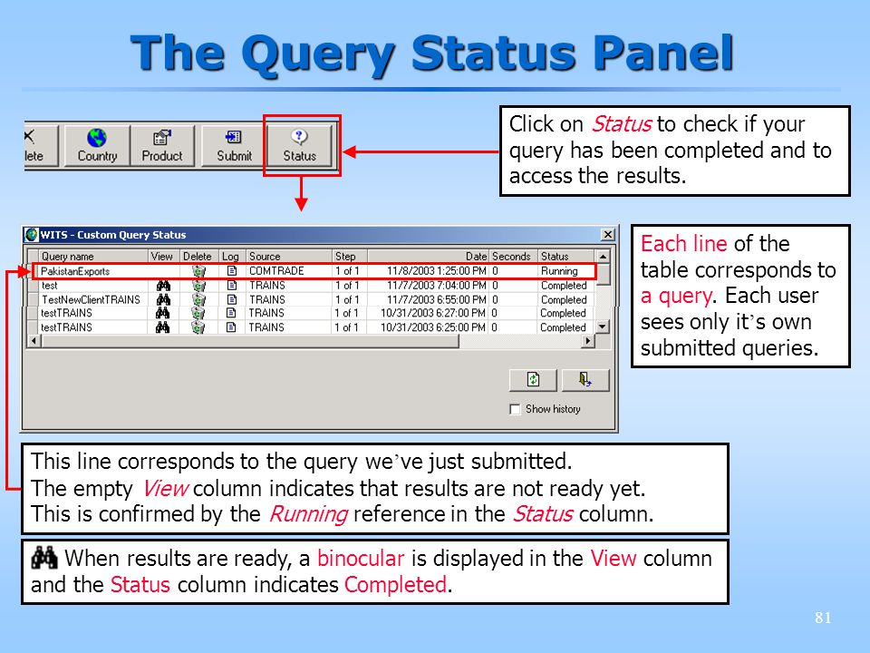 81 The Query Status Panel Click on Status to check if your query has been completed and to access the results.