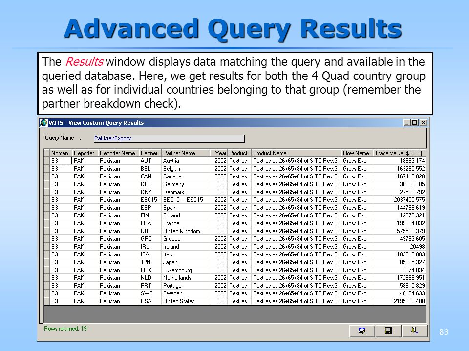 83 Advanced Query Results The Results window displays data matching the query and available in the queried database. Here, we get results for both the