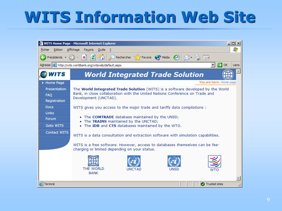 10 WITS Registration in details 2.Click on Registration to open the WITS registration home page 1.