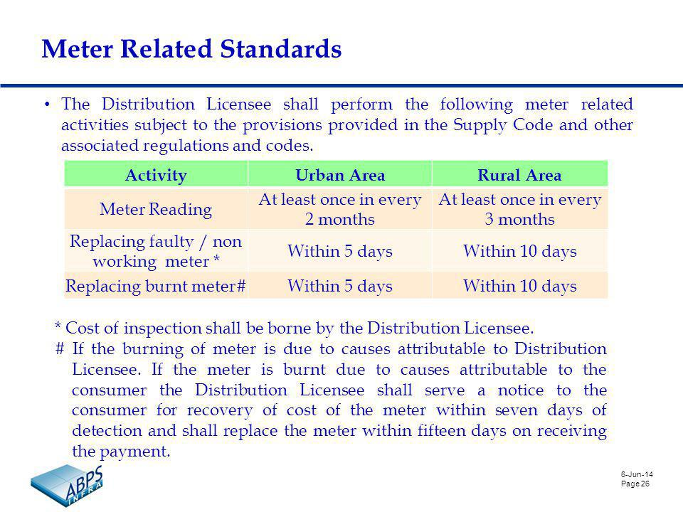6-Jun-14 Page 26 Meter Related Standards The Distribution Licensee shall perform the following meter related activities subject to the provisions provided in the Supply Code and other associated regulations and codes.