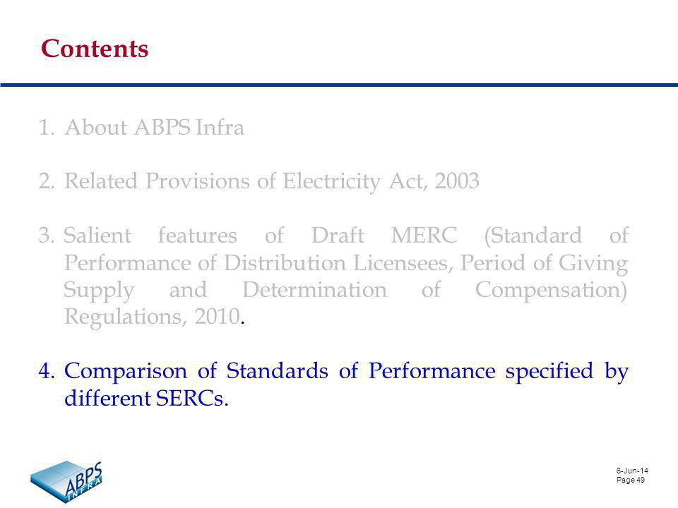 6-Jun-14 Page 49 Contents 1.About ABPS Infra 2.Related Provisions of Electricity Act, 2003 3.Salient features of Draft MERC (Standard of Performance of Distribution Licensees, Period of Giving Supply and Determination of Compensation) Regulations, 2010.