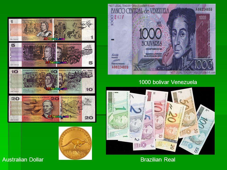 Australian DollarBrazilian Real 1000 bolivar Venezuela