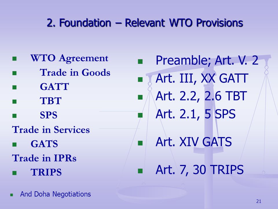 21 2.Foundation – Relevant WTO Provisions 2.