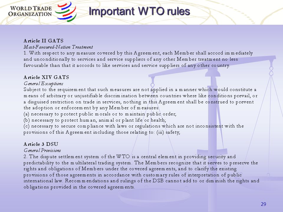 29 Important WTO rules