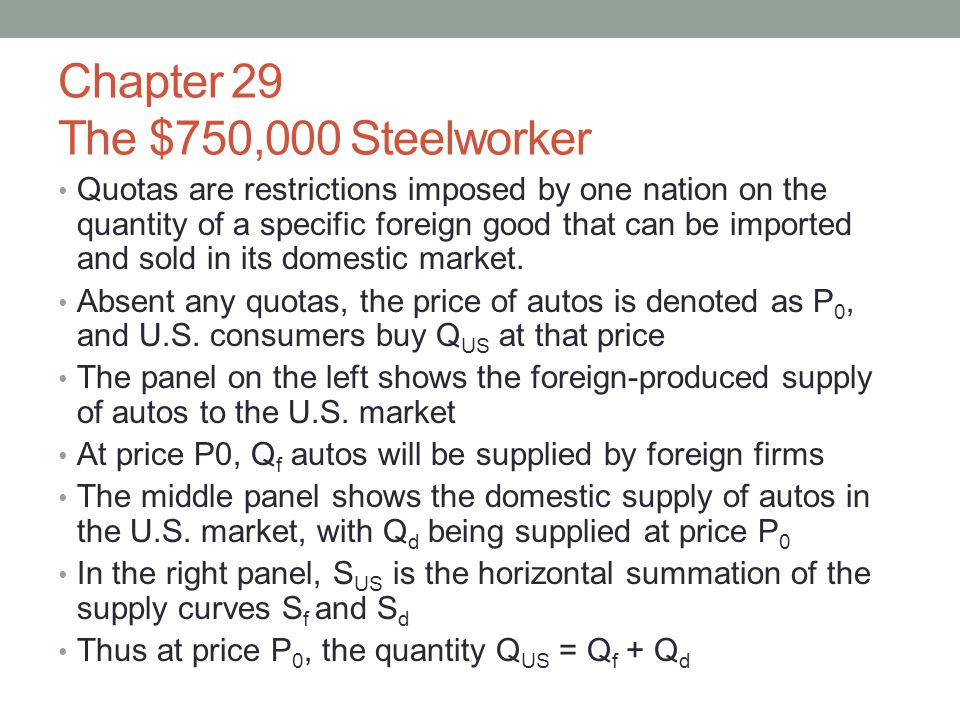 Chapter 29 The $750,000 Steelworker Quotas are restrictions imposed by one nation on the quantity of a specific foreign good that can be imported and