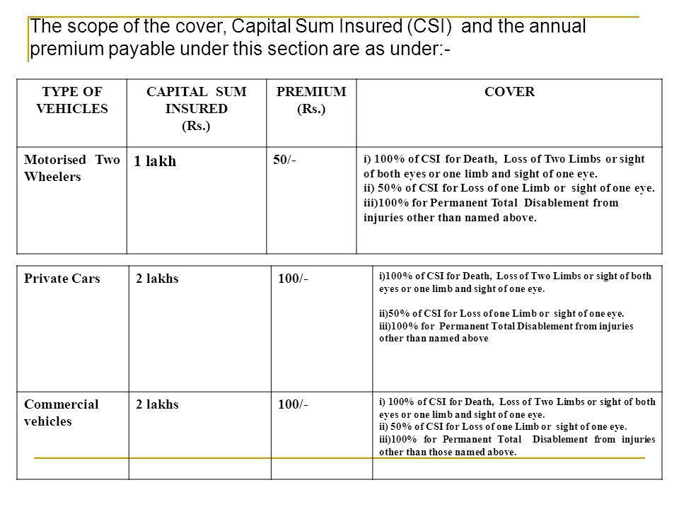 The scope of the cover, Capital Sum Insured (CSI) and the annual premium payable under this section are as under:- TYPE OF VEHICLES CAPITAL SUM INSURE