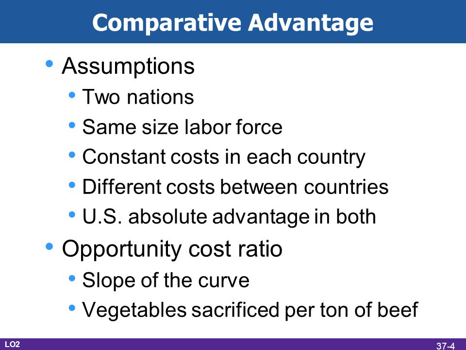 Assumptions Two nations Same size labor force Constant costs in each country Different costs between countries U.S.