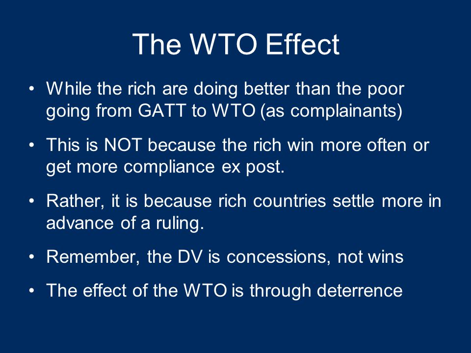 Full Concessions Under GATT/WTO Busch & Reinhardt. Developing Countries and GATT/WTO Dispute Settlement. Journal of World Trade 37 (4) 2003: 719-735.