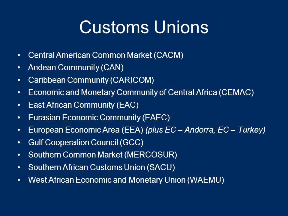 RTAs Free Trade Area (e.g., NAFTA) –Eliminate tariffs amongst members –Members maintain independent trade policies with non-members Customs union (e.g