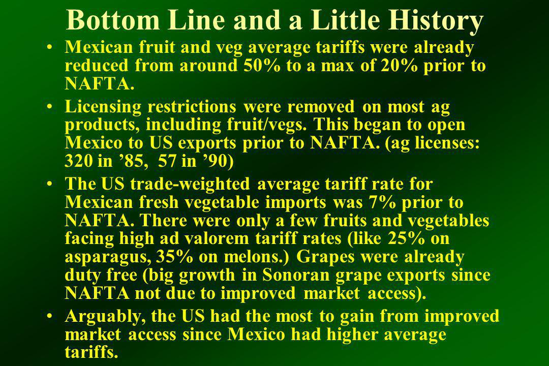 Bottom Line and a Little History Mexican fruit and veg average tariffs were already reduced from around 50% to a max of 20% prior to NAFTA.