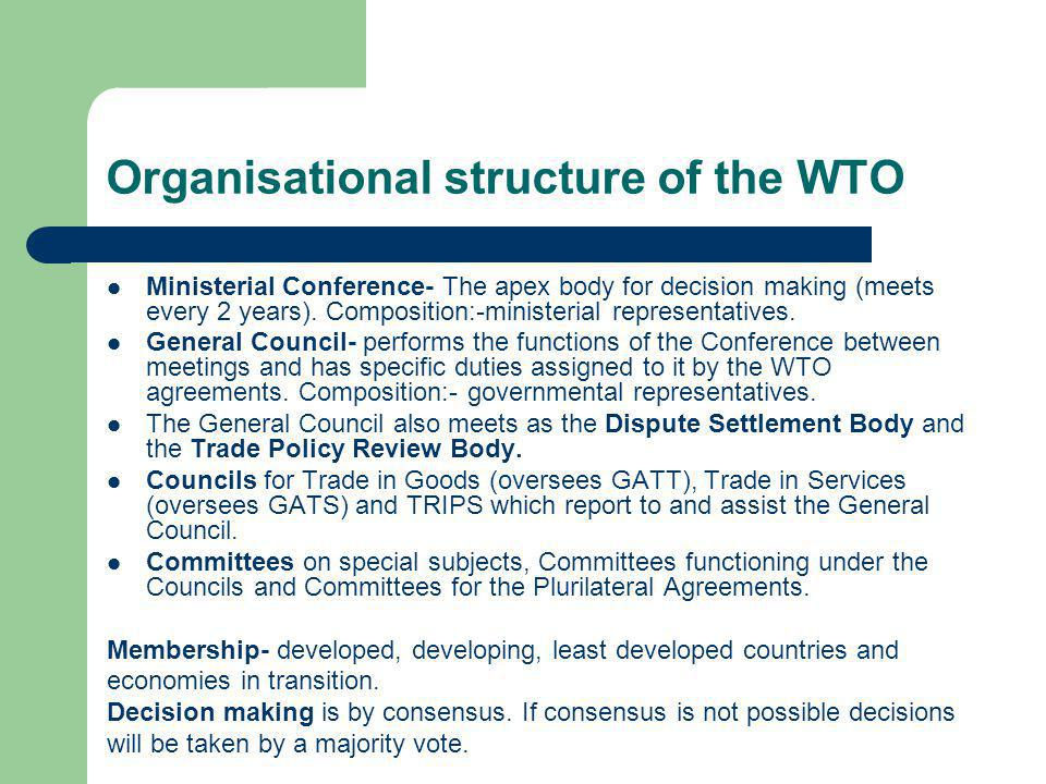 The Uruguay Round agreements The Agreement establishing the WTO Its Annexes Annex 1A - GATT 1994, related agreements (e.g.