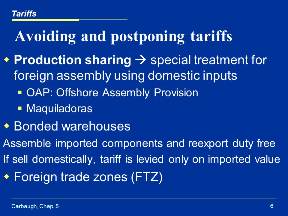 Carbaugh, Chap. 5 6 Avoiding and postponing tariffs Production sharing special treatment for foreign assembly using domestic inputs OAP: Offshore Asse