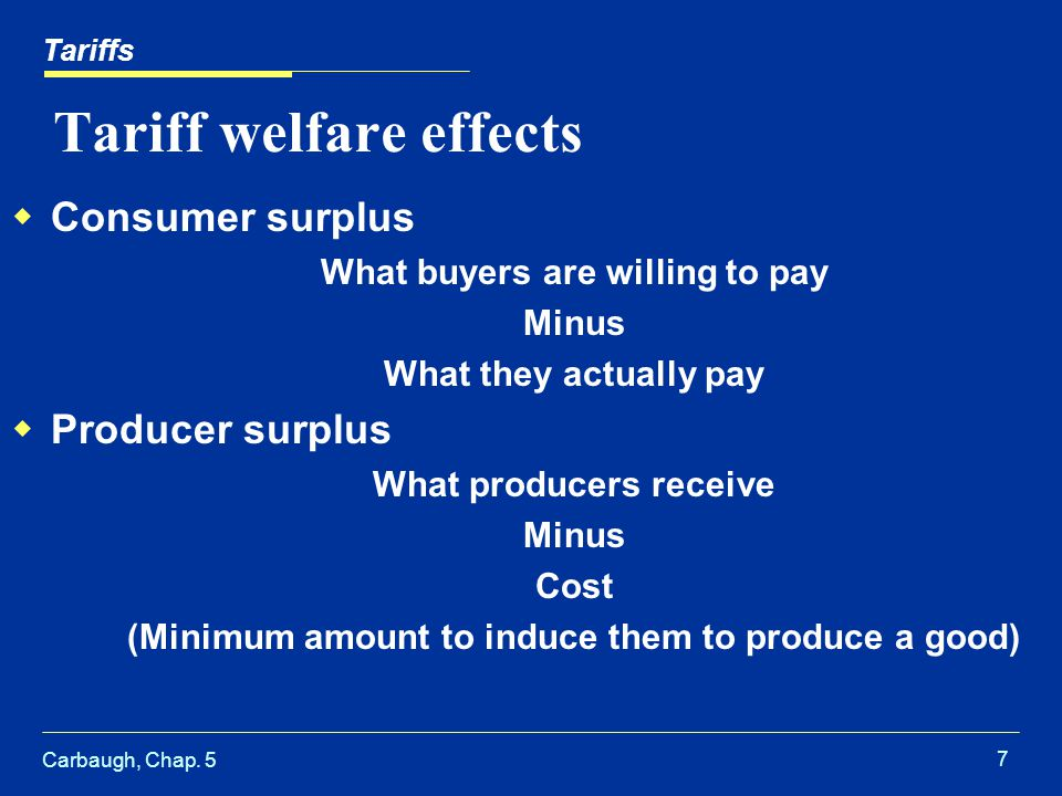 Carbaugh, Chap. 5 7 Tariff welfare effects Consumer surplus What buyers are willing to pay Minus What they actually pay Producer surplus What producer