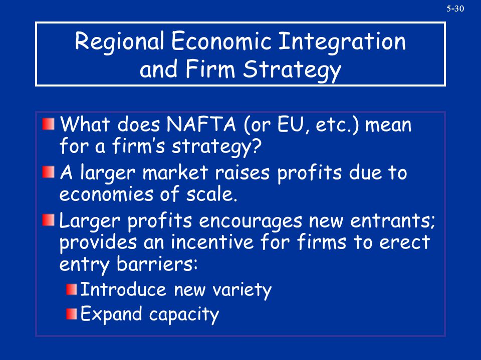 5-30 Regional Economic Integration and Firm Strategy What does NAFTA (or EU, etc.) mean for a firms strategy? A larger market raises profits due to ec