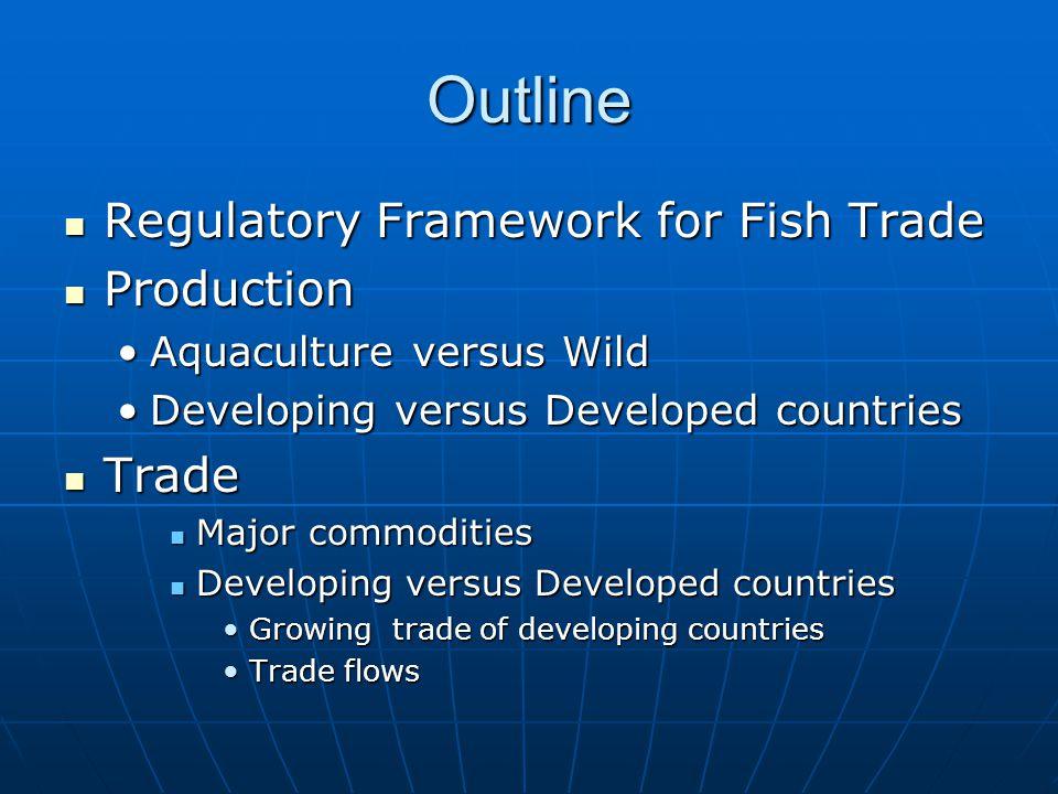Outline Regulatory Framework for Fish Trade Regulatory Framework for Fish Trade Production Production Aquaculture versus WildAquaculture versus Wild D