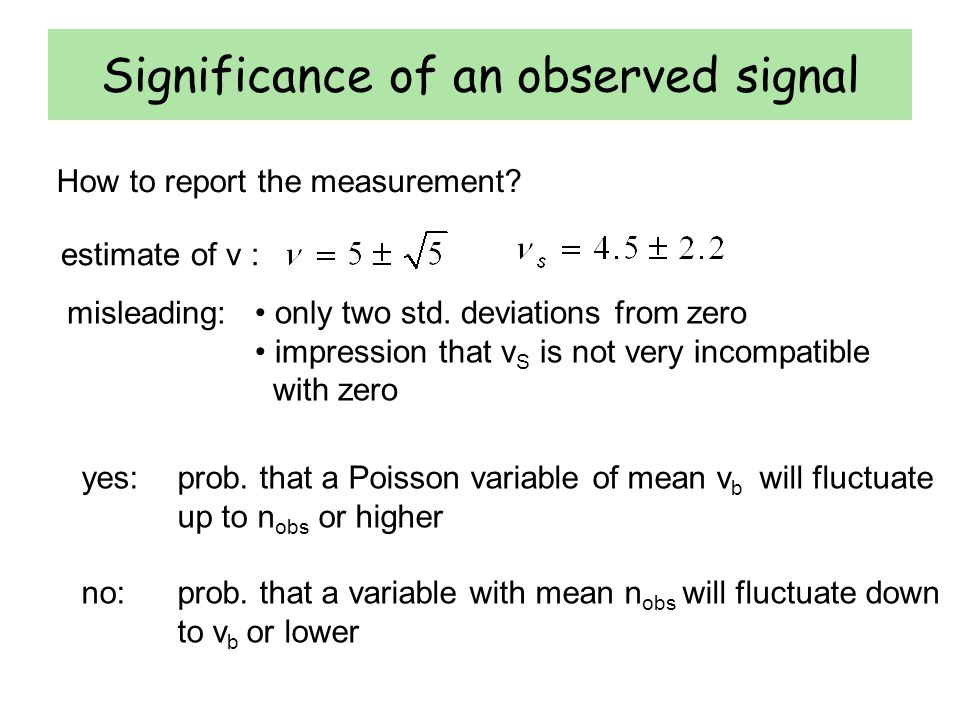 Significance of an observed signal How to report the measurement.