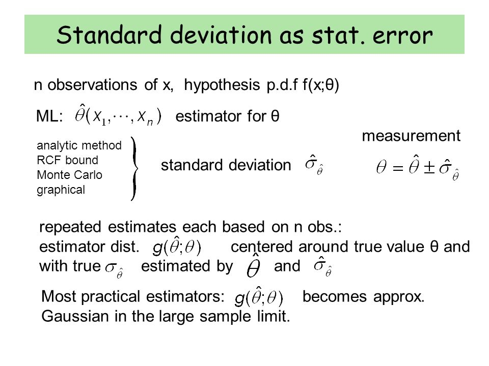 ML: estimator for θ Standard deviation as stat.