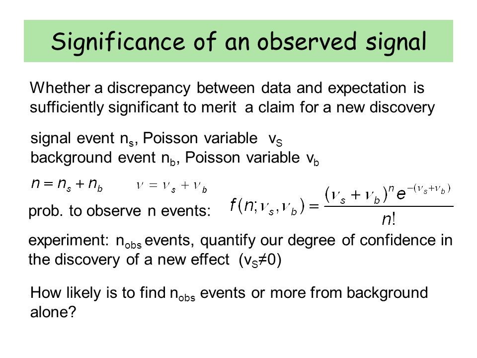 Significance of an observed signal Whether a discrepancy between data and expectation is sufficiently significant to merit a claim for a new discovery signal event n s, Poisson variable ν S background event n b, Poisson variable ν b prob.