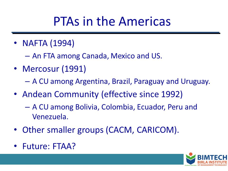PTAs in Europe: The European Free Trade Association (EFTA) Created in 1960.