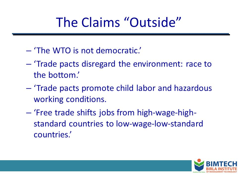 WTO: Recent Developments Seattles Failed Millennium Round Main reasons behind the failure US vs.