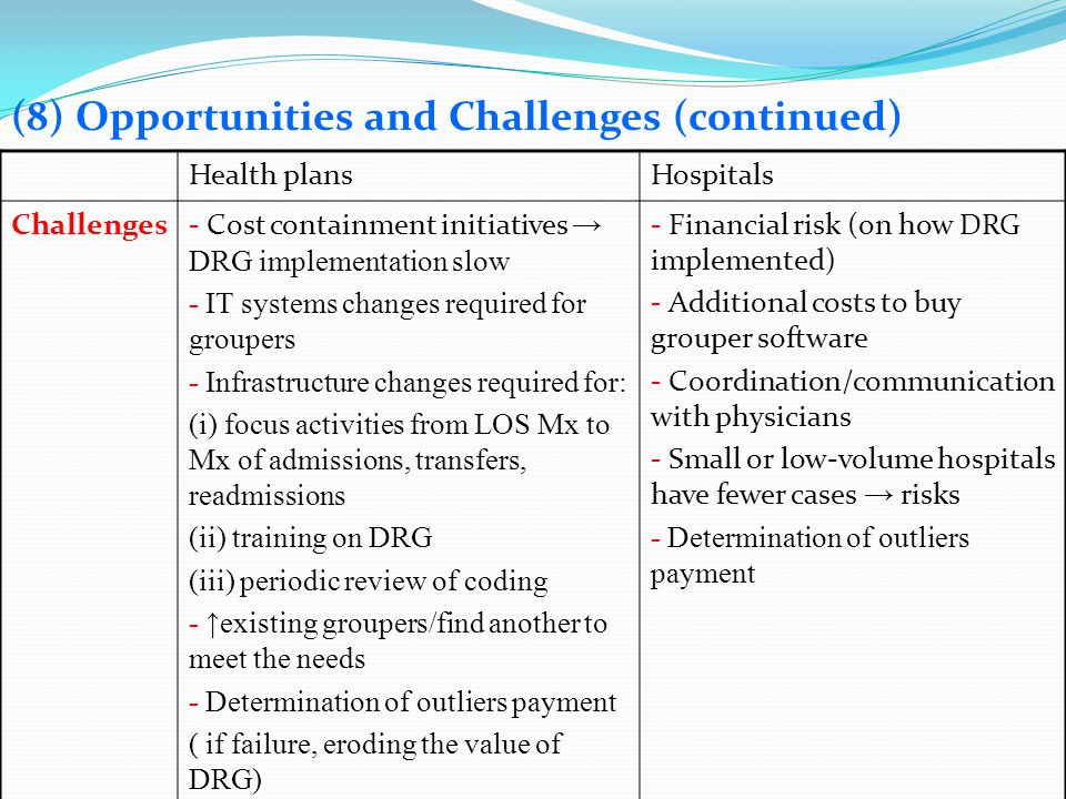 (8) Opportunities and Challenges (continued) Health plansHospitals Challenges- Cost containment initiatives DRG implementation slow - IT systems chang