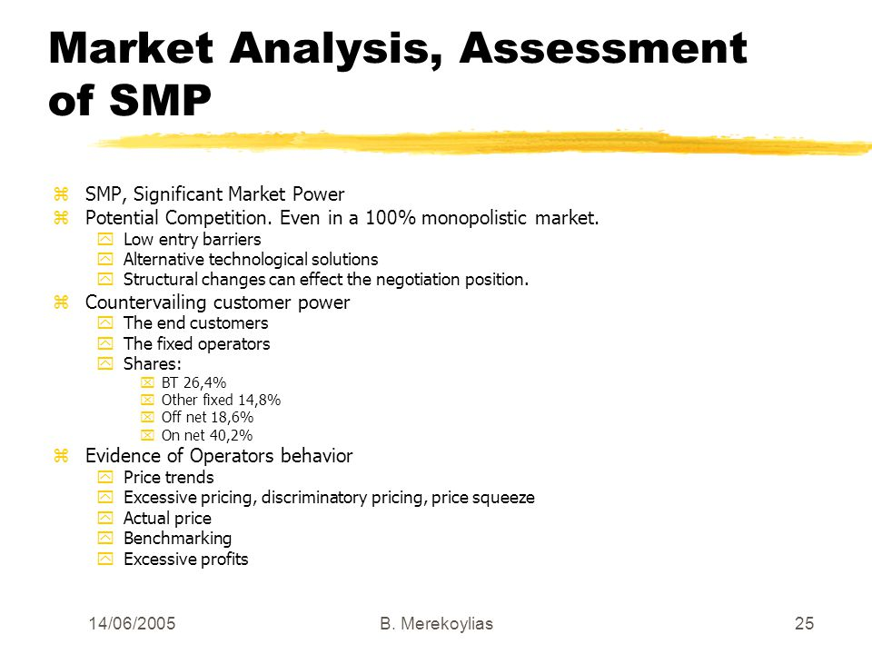 14/06/2005Β. Merekoylias25 Market Analysis, Assessment of SMP zSMP, Significant Market Power zPotential Competition. Even in a 100% monopolistic marke