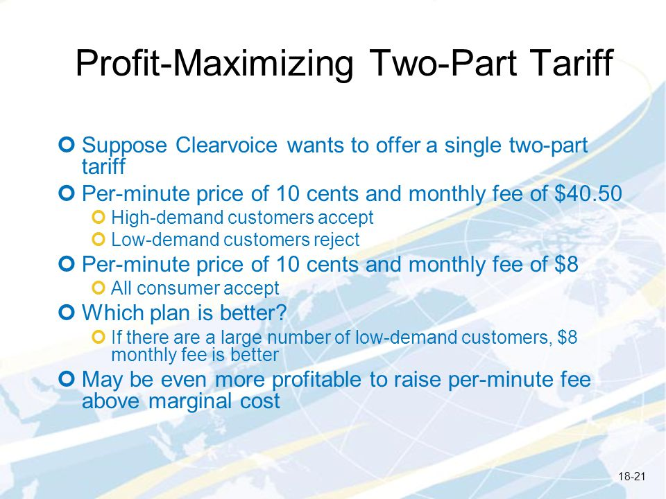 Profit-Maximizing Two-Part Tariff Suppose Clearvoice wants to offer a single two-part tariff Per-minute price of 10 cents and monthly fee of $40.50 Hi
