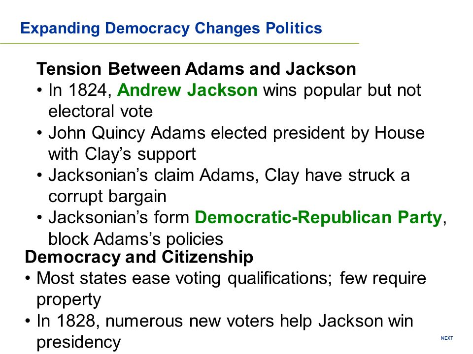 NEXT Expanding Democracy Changes Politics Tension Between Adams and Jackson In 1824, Andrew Jackson wins popular but not electoral vote John Quincy Ad