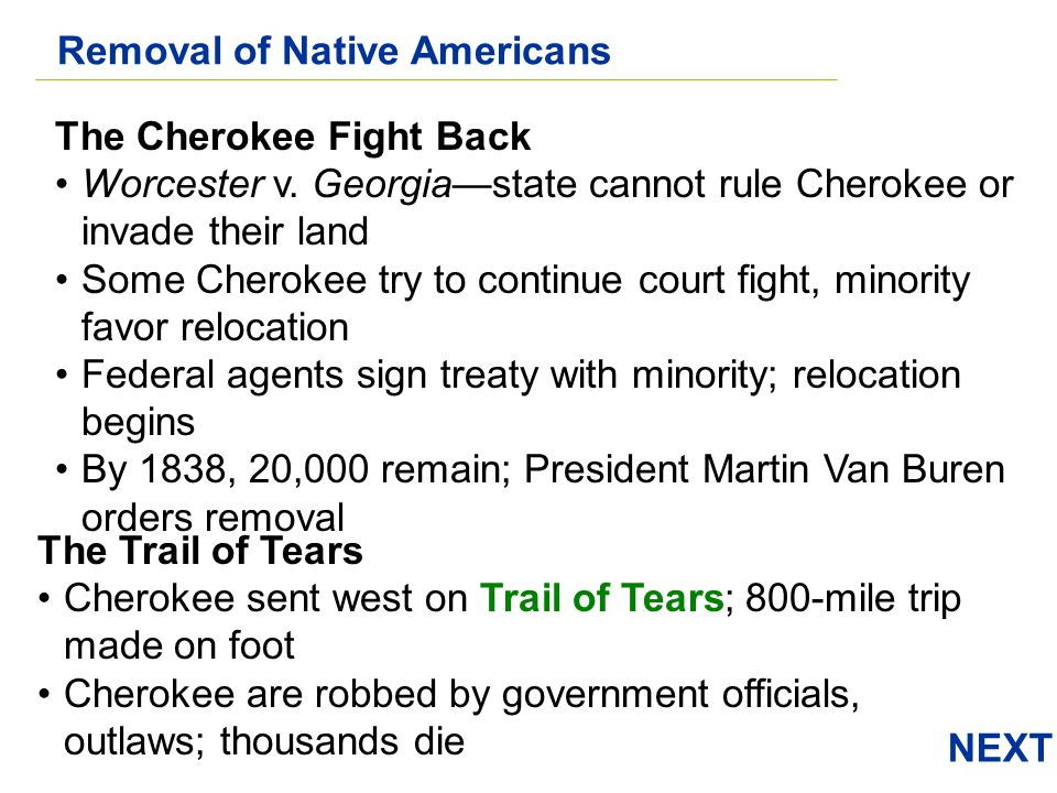 NEXT The Cherokee Fight Back Worcester v. Georgiastate cannot rule Cherokee or invade their land Some Cherokee try to continue court fight, minority f