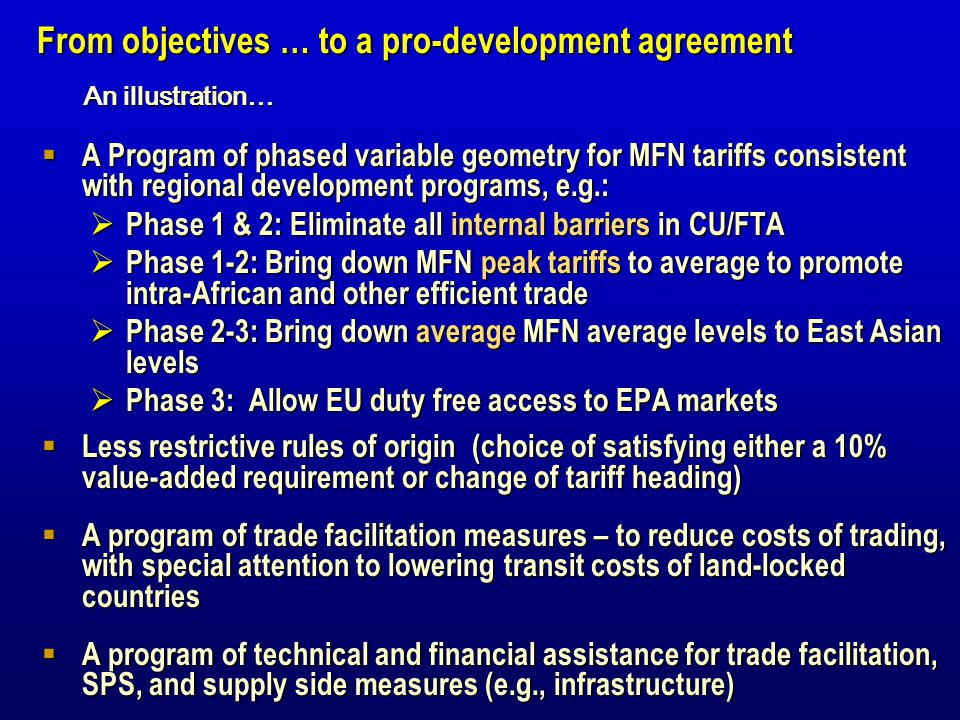 A Program of phased variable geometry for MFN tariffs consistent with regional development programs, e.g.: A Program of phased variable geometry for M