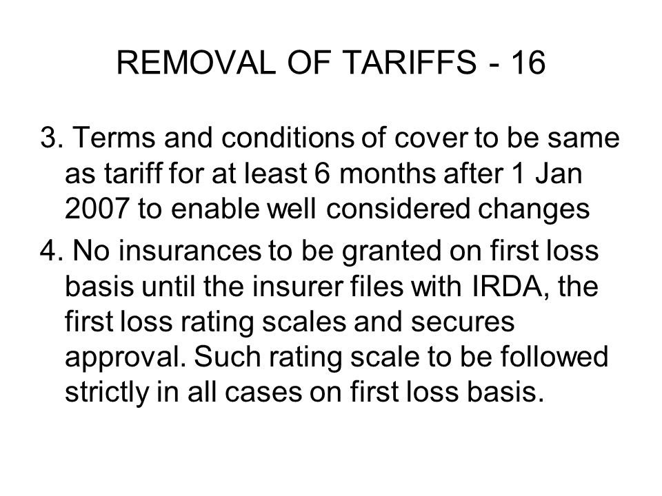 REMOVAL OF TARIFFS - 16 3.