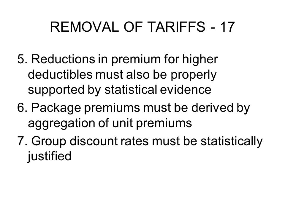 REMOVAL OF TARIFFS - 17 5.